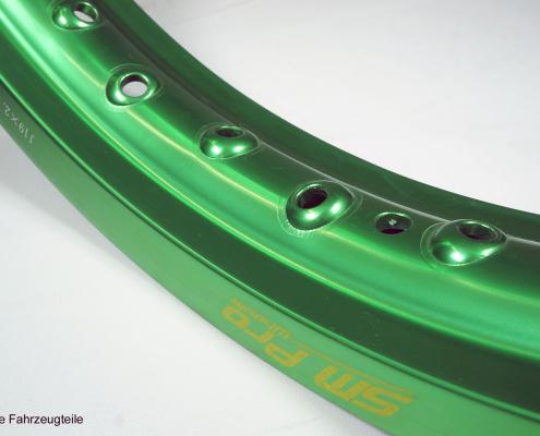 SM Pro Felge in grün eloxiert