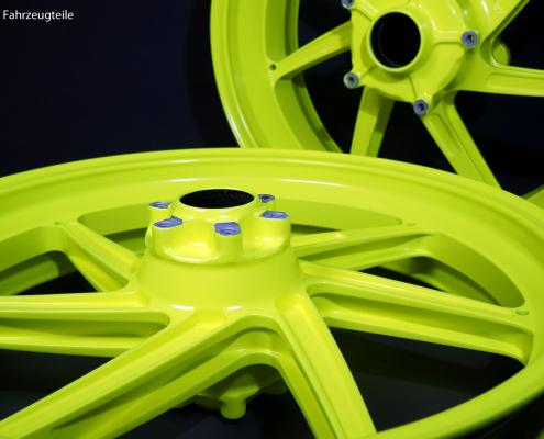 Ducati Felgen in neon Gelb pulverbeschichten
