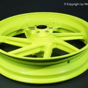 Neon-Gelb Pulverbeschichtung auf Motorrad Felge