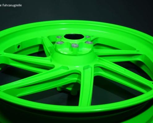 Motorrad Felgen in Neon Grün pulverbeschichten